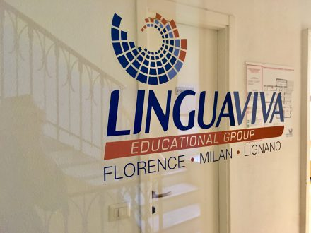 Eingangsbereich der Sprachschule Linguadue in Mailand